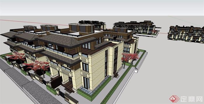 新古典風格詳細的住宅小區完整別墅設計su模型