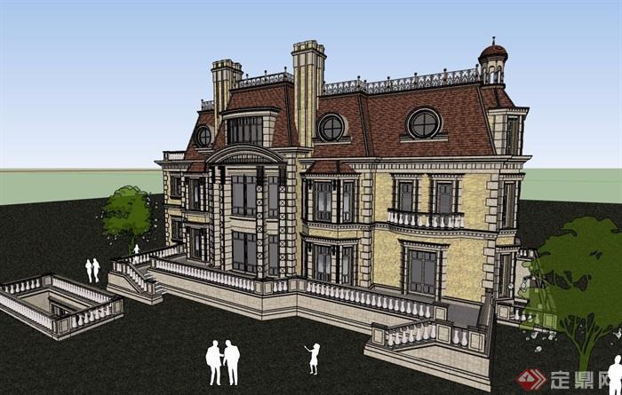 詳細的歐式風格居住別墅su模型