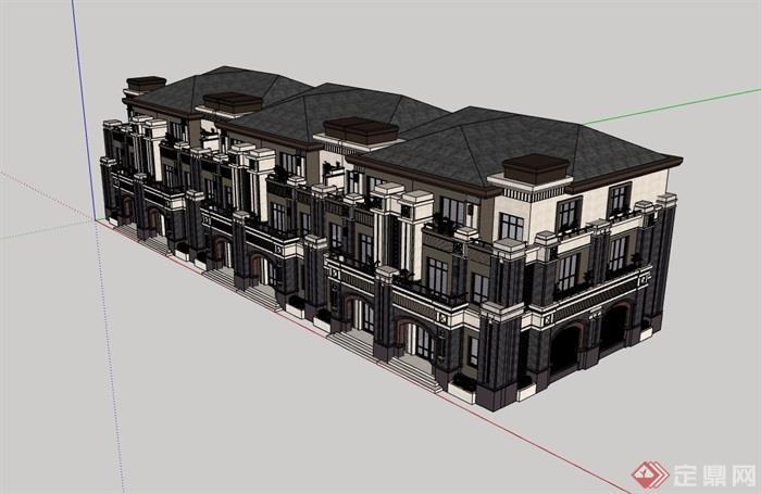 歐式風格詳細的整體住宅別墅設計su模型