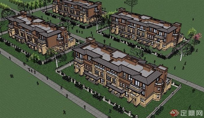 獨特詳細的精致住宅別墅設計su模型