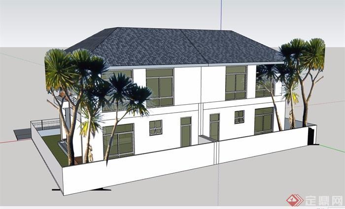 歐式風格詳細的兩層雙拼別墅設計su模型