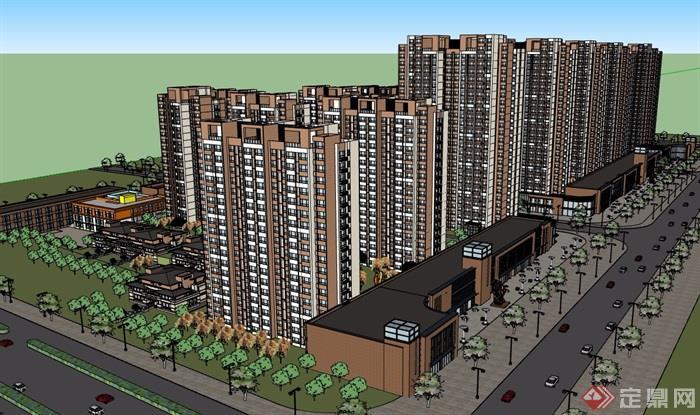 一個現代風格住宅區詳細建筑樓su模型