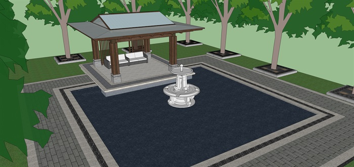 新中式亭子花架樹篦子su模型(3)