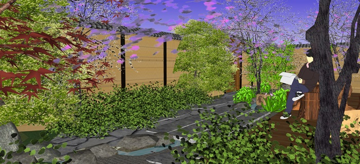 日式庭院景觀設計su模型(1)