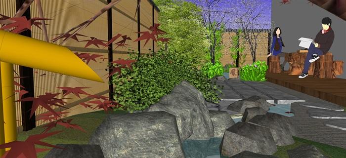 日式庭院景觀設計su模型(5)