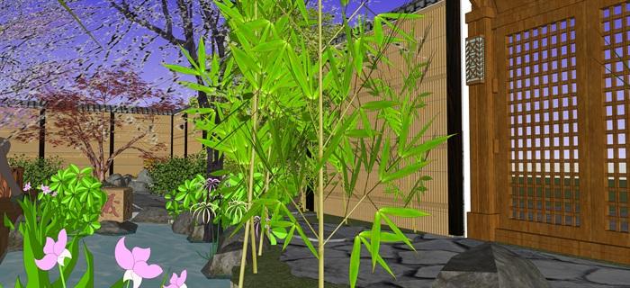 日式庭院景觀設計su模型(6)