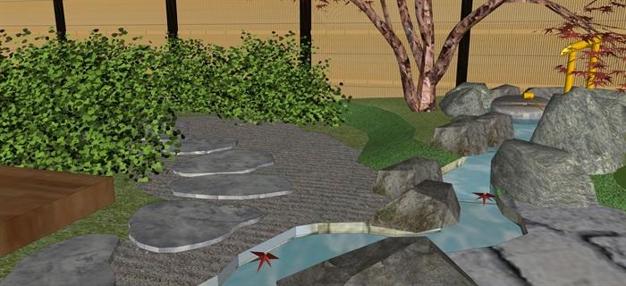 日式庭院景觀設計su模型(7)