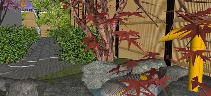 日式庭院景觀設計su模型(8)