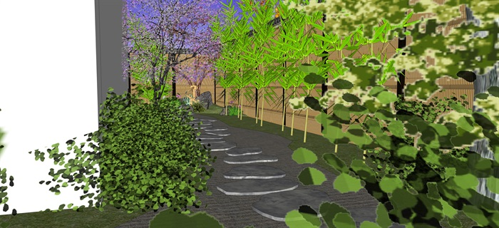 日式庭院景觀設計su模型(9)