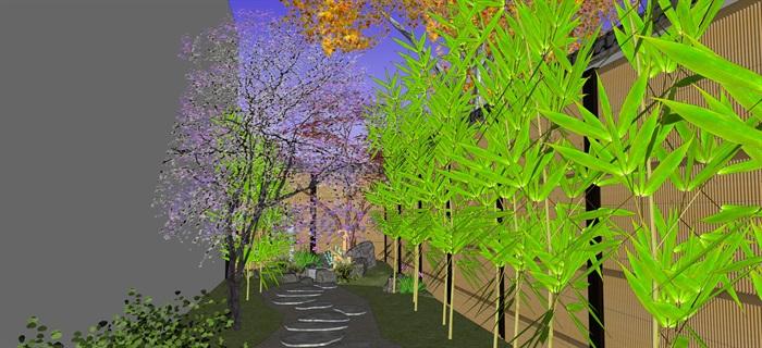 日式庭院景觀設計su模型(10)