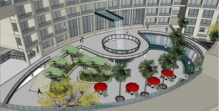 017酒店整体建筑景观模型(1)
