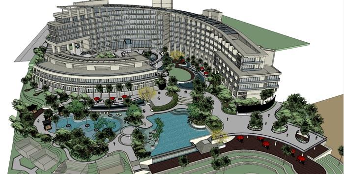 017酒店整体建筑景观模型(2)