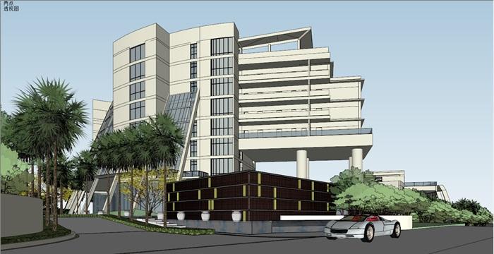 017酒店整体建筑景观模型(3)