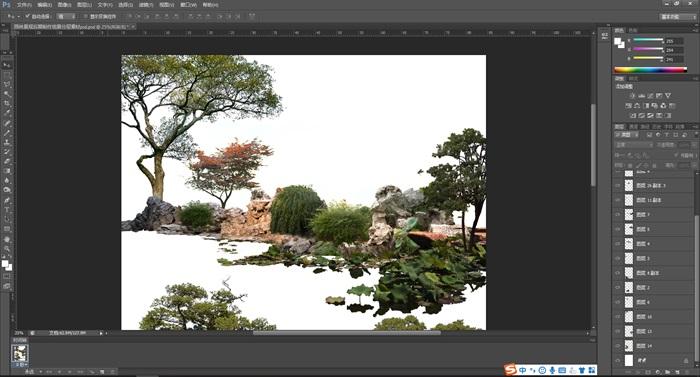 園林景觀后期制作組景分層素材psd(1)