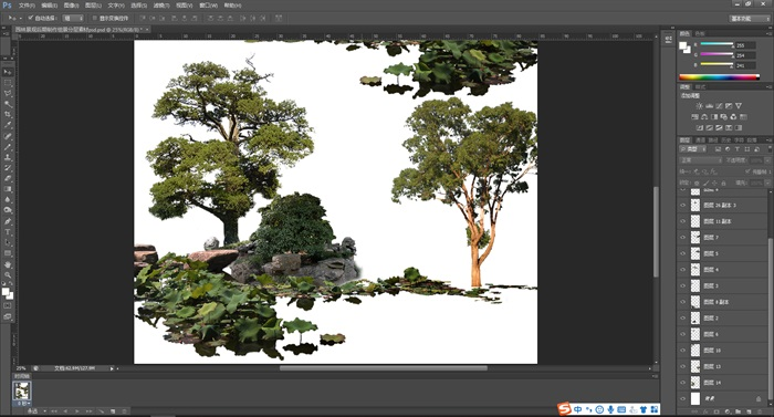 園林景觀后期制作組景分層素材psd(2)