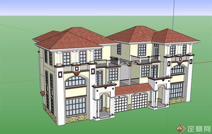 雙拼歐式風格詳細的住宅別墅設計su模型