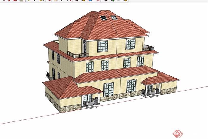 雙拼歐式風格三層住宅別墅設計su模型