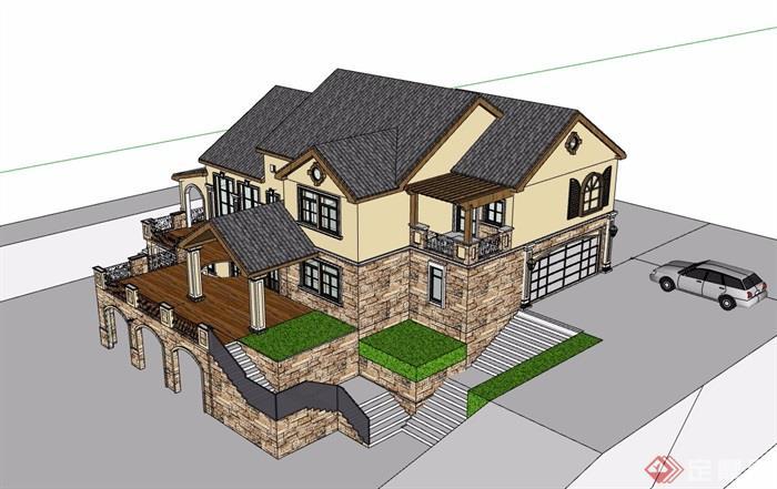 多層歐式風格詳細的完整別墅建筑su模型