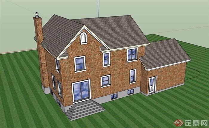 詳細的完整私人歐式住宅別墅設計su模型