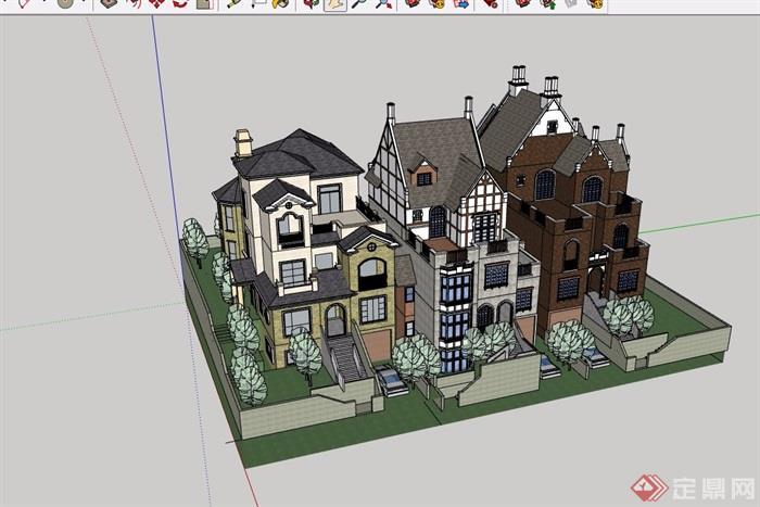 三種不同的詳細歐式住宅別墅設計su模型