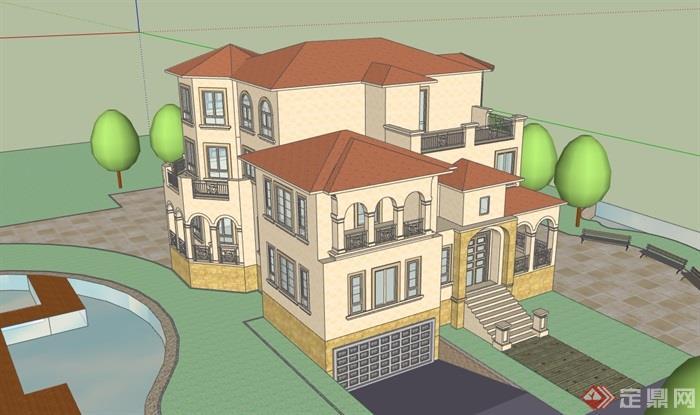 歐式風格詳細的三層獨棟住宅別墅設計su模型