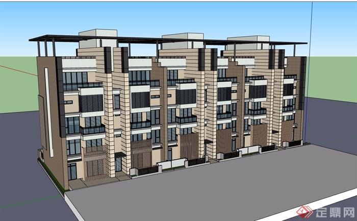 現代風格詳細的完整多層居住建筑樓設計su模型