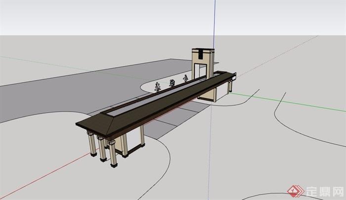 中式風格詳細的完整圍墻大門素材設計su模型