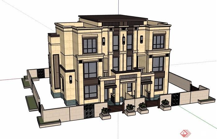 新古典風格雙拼住宅別墅設計su模型