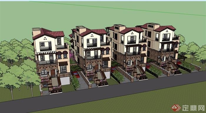 歐式風格詳細的居住小區多層別墅建筑設計su模型