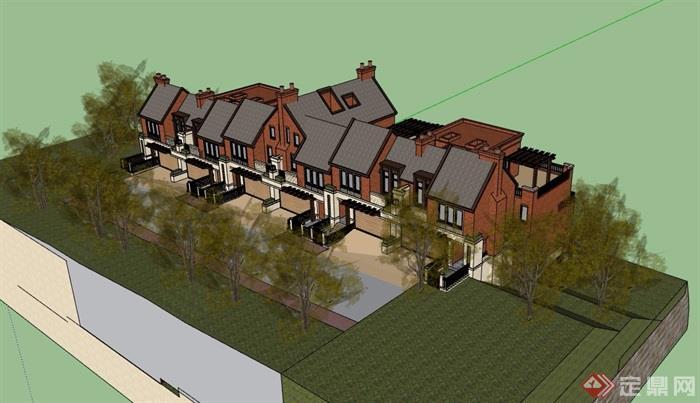 歐式風格詳細的山地聯排別墅設計su模型