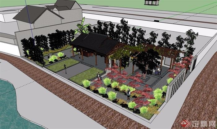 中式風格詳細的庭院素材設計su模型