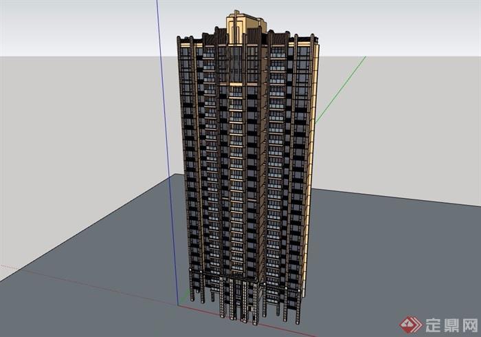 現代風格詳細的高層居住樓設計su模型