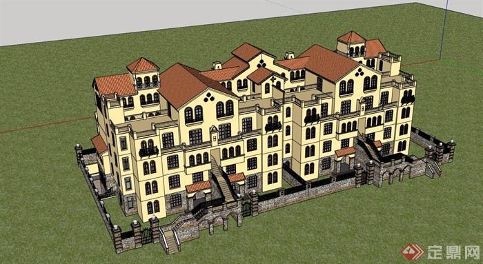 歐式風格詳細的多層住宅小區居住樓設計su模型