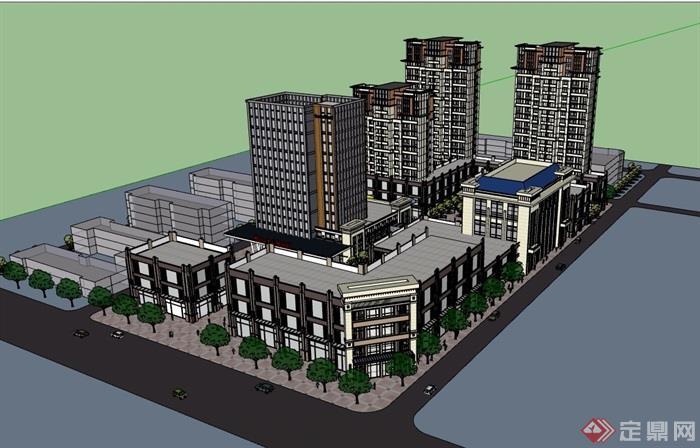 某現代風格詳細的商業辦公及商業住宅建筑su模型
