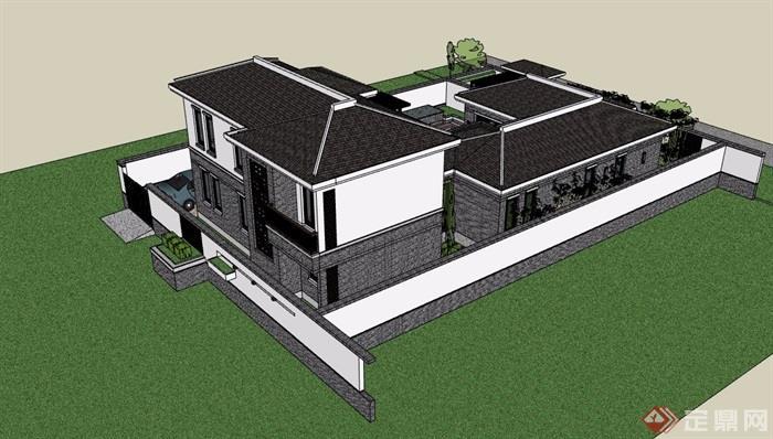 中式風格詳細的合院住宅別墅設計su模型