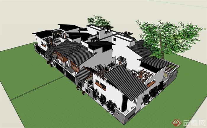 中式風格詳細的多拼詳細完整別墅設計su模型
