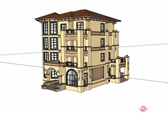 四層詳細的完整多層別墅設計su模型