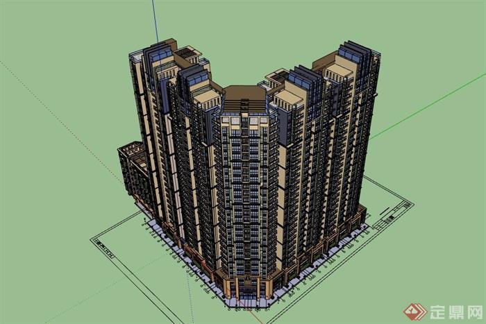 某詳細的商業高層居住建筑樓設計su模型