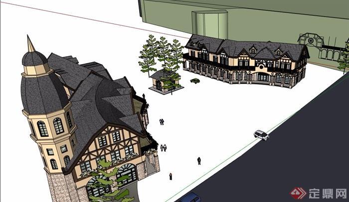 歐式風格詳細的多層商業街邊建筑樓設計su模型
