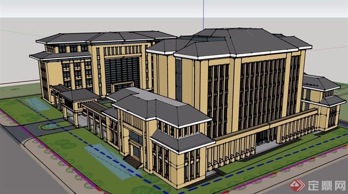 中式風格詳細的政府辦公樓建筑su模型