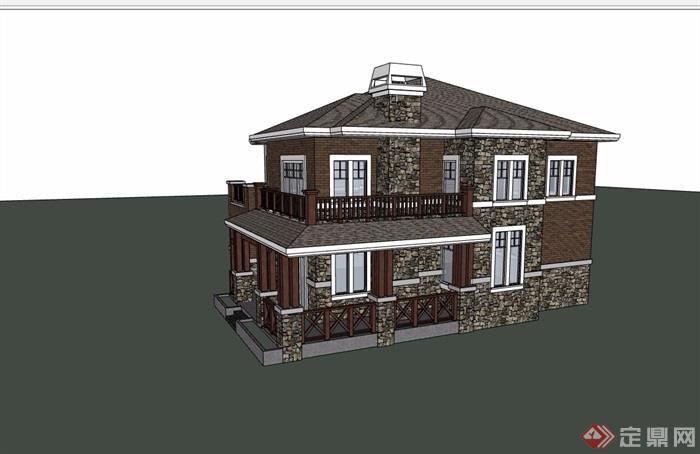 獨棟詳細的多層住宅別墅設計su模型