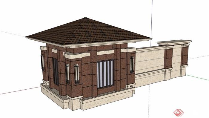 某現代的門衛室崗亭素材設計su模型