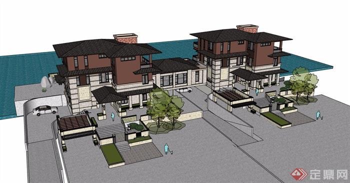 新古典風格詳細的雙拼住宅別墅su模型
