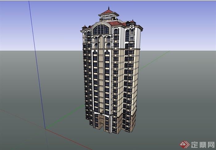 小高層居住小區建筑樓設計su模型