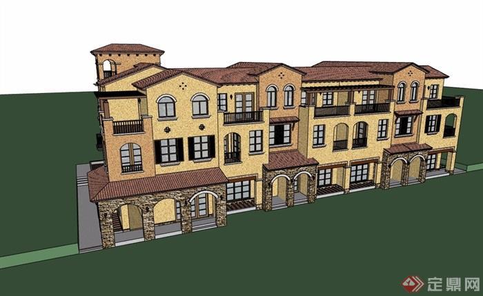 西班牙風格詳細的多層完整的住宅別墅設計su模型