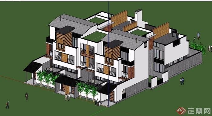 中式風格詳細多層住宅別墅su模型