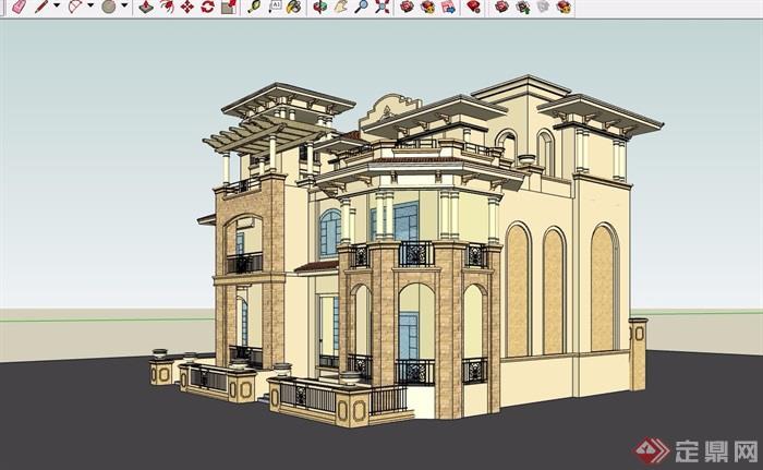 三層詳細的獨棟住宅別墅設計su模型