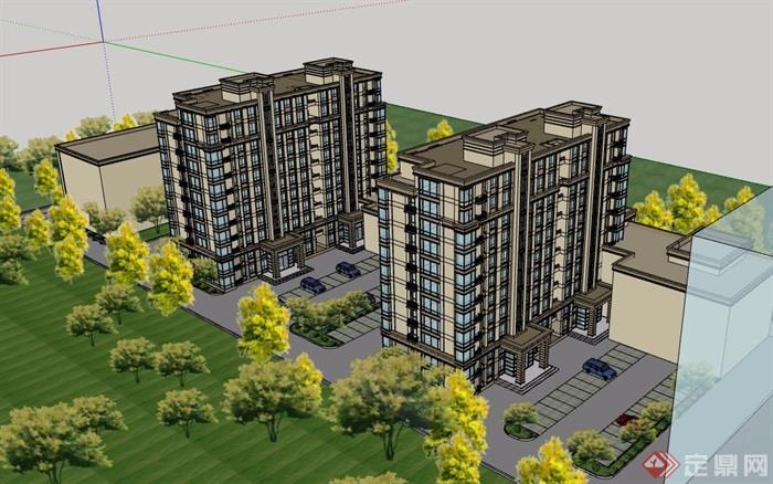 某現代風格詳細的多層商業居住樓設計su模型