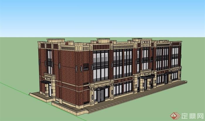 新古典風格多層商業建筑樓su模型