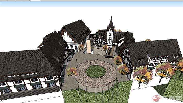 歐式風格詳細的小鎮商業多層建筑su模型